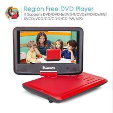 "Red Portable DVD CD Player 9"" HD Swivel Screen Region Free USB SD Car Headrest"