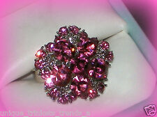 BREAST CANCER AWARENESS RIBBON~PINK CRYSTAL FLOWER RING~ADJUSTABLE SIZE 7/8/9