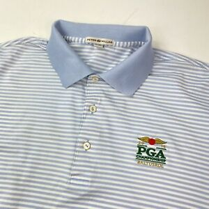 Peter Millar Baltusol PGA 2016 Blue Stripe Golf Polo Shirt Size Large