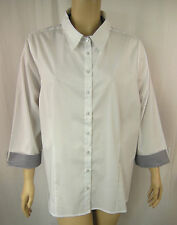 BeMe White Button Down 3/4 Sleeve Office Shirt Tunic Top Plus Size 16 BNWOT #S10