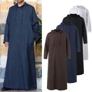 Mens Saudi Jubba Dishdasha Muslim Long Sleeve Hooded Kaftan Long Maxi Thobe Tops