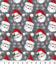Christmas Fabric - Cartoon Santa Claus Face Gray - Fabric Traditions Yard