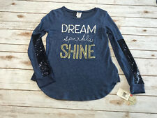 NWT Self Esteem Womens Juniors L Large Dream Sparkle Shine Sweatshirt Sequin Top