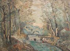 Vintage oil painting forest landscape river impressionism