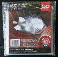 Sobres de plástico transparente con solapa para CD o DVD- Paquete de 50 sobres