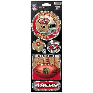 """SAN FRANCISCO 49ERS OFFICIAL 10.5"""" X 4"""" PRISMATIC DECAL SET NEW WINCRAFT 👀🏈"""