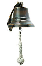 "Ship's Bell Solid Brass 5"" Bronzed Finish Nautical Marine Wall Hanging Decor New"