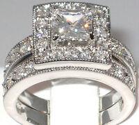Antique 2.33 Ct. Princess Cut Cubic Zirconia Engagement Wedding Ring Set- SIZE 5