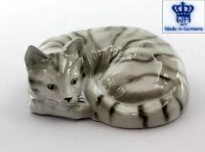 9942183 Porcelain Figurine Wagner & Apel Cat Grey Mackerel Tabby 2 3/8x5 1/2in