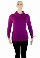 DKNY Jeans Woman's Sweater Plus 18/20W Purple Ribbed Turtleneck Cotton $69