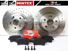 FOR AUDI S4 B8 S5 V6 V8 REAR DRILLED PERFORMANCE BRAKE DISCS MINTEX PADS 330mm
