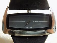 Ladies SWISS Rare  ALFEX Plum Design 5550 Wide Black Leather Band Quartz Watch