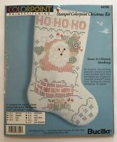 Bucilla Stamped Colorpoint Paint Stitching Stocking Kit Santa Christmas 63729
