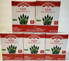 Lot of 5-Holiday Time 100 Green Mini Lights-Christmas-Wedding-NEW-Green Wire