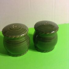 Pacific Rim-Salt & Pepper Ceramic Shakers-Green-3 1/2x3 Preowned Great Cond.
