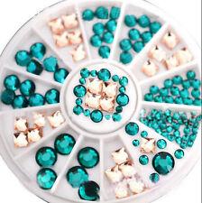 3D DIY Nail Art Tips Decoration Square Round Glitter Glass Rhinestone Wheel L7