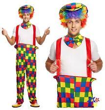 Adulto Rainbow Clown Fancy Dress Costume-Circo Traje De Fiesta