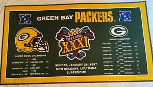 Green bay Packers super bowl XXXI 1997 rug 51 x 28 1997 rubber backed