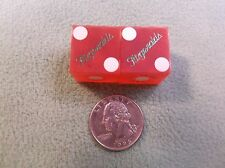 "#2 of 30, Pair Of Old Vtg Casino Used Dice - ""Fitzgerald"" Red With White Dots"