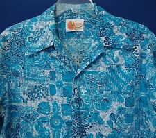 Vintage IOLANI Hawaii Men's Large Hawaiian Aloha Shirt Blue Big Collar - Stains