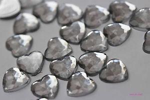 100, 200, 500 8mm Flat Back Silver Acyrlic Rhinestone Heart Gems VARIOUS COLOURS
