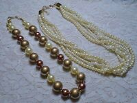 VINTAGE TO NOW BROWN CREAM & GOLD COLOR FAUX PEARL LUCITE BEADED NECKLACE LOT