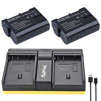 2Pcs EN-EL15 + USB Dual Charger for Nikon D500 D600 D610 D750 D7000 D7100 D7200