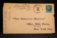 Pennsylvania: Negley 1896 Registered Cover, DPO Allegheny Co