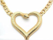New Heart Snake Women Choker Crystal Necklace Earrings Yellow Gold Plated