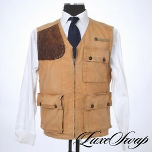 Vintage Polo Ralph Lauren Tan Cotton Twill Leather Shooting Patch Hunting Vest L