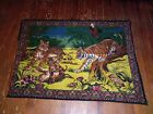 Vintage Velvet Tapestry Wall Hanging Tigers Cubs pre-owned Nice shape 80s Rare!!