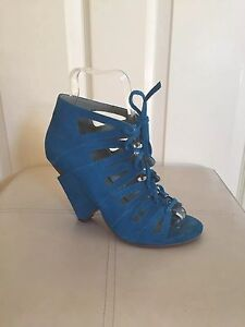 BRONX/ TURQUOISE SUMMER SANDALS/ SIZE 3, EU 36/ SUEDE LACE UP/ UNUSUAL HEEL
