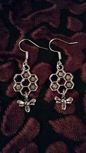"""Handmade honey bee pair of earrings (""""antique silver"""")"""