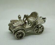 VINTAGE GRANDE pesante in argento ciondolo vintage car CON RUOTE SNODABILI