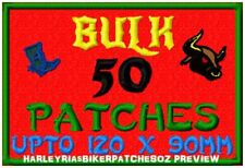 CUSTOM/MADE TO ORDER SPECIAL BIKER EVENT RALLY PATCHES- 50 LARGE- BULK DEAL