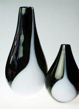 TWO VASES | ART GLASS | BLACK & WHITE | MAKORA | PRESENT | NEW