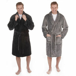 Men's Flannel Fleece Bath Robe Night Robe Nightwear Plus Size Big & Tall New