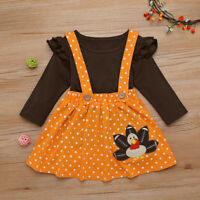 2PCS Toddler Kids Baby Girl Thanksgiving Long Sleeve Tops Strap Skirt Outfit Set