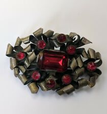 Vintage 1920's Art Deco Czech Faceted Ruby Glass Silver Tone Brooch Pin