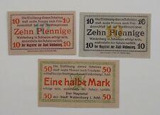 Waldenburg (Schlesien)  2 x 10 Pfg. + ½ Mark  Serie I  o. D. Grab.: W 3.4 + W 3.