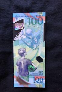 100 Rubles 2018 FIFA World Cup Russian Commemorative Banknote w/ protector case