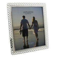 "Beautiful Sparkly Crystal Hearts Edge Photo Frame 4x6"" 5x7"" 6x8"" 8x10"" FS729"