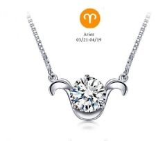 """Genuine Silver Aries Pendant AAA CZ Zodiac Necklace 16"""" Sterling Silver Chain"""