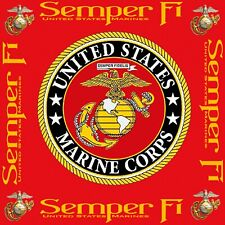 "US Marine Corps Semper Fi  Cotton Fabric 8x8"" Finished Quilt Block, Applique"