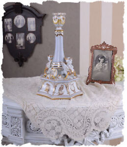 CANDLESTICK IN THE ROCOCO STYLE PORCELAIN SEVRES STYLE HAND PAINTED FENSTES