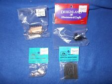 Fireplace lot: coal bucket, log grate, screen, etc - 1:12 scale, Nib, lot #216