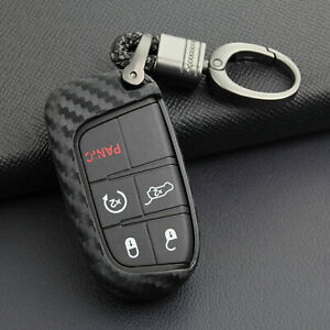 Car Key Fob Accessories For Jeep Dodge Chrysler Chain Ring Carbon Fiber Cover