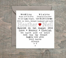 Personalised Handmade Wedding Day Card Engagement Anniversary Heart. *