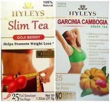 Hyleys 100% Natural Slim Tea Goji and Garcinia Cambogia Flavor (25 Teabags each)