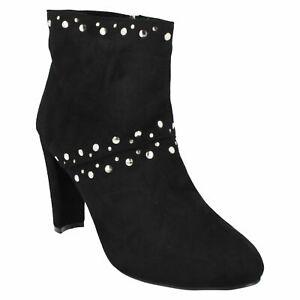 F5R0852 LADIES ANNE MICHELLE ZIP UP HIGH HEEL BLACK EVENING WINTER ANKLE BOOTS